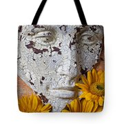 Cracked Face And Sunflowers Tote Bag