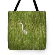 Crane In The Tall Grass On Assateague Island Maryland Tote Bag