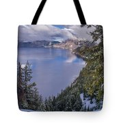 Crater Lake And Approaching Clouds Tote Bag