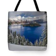 Crater Lake And Fresh Snow Panorama Tote Bag