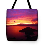 Crater Lake Fire In The Sky Tote Bag