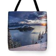 Crater Lake Snow Sunrise Tote Bag