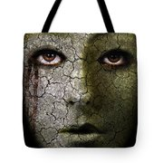 Creepy Cracked Face With Tears Tote Bag
