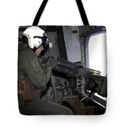 Crew Chief Fires An M2 .50-caliber Tote Bag
