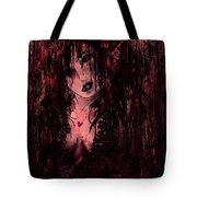 Crimson Torn Lace Tote Bag