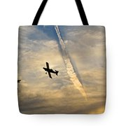 Crop Duster Under The Jet Trail Tote Bag
