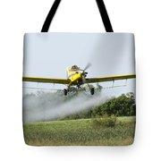 Crop Dusting Plane In Action Tote Bag