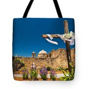 Cross At Mission San Jose Texas Tote Bag
