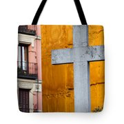 Cross In The City Of Madrid Tote Bag