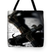 Cross On A Book Tote Bag