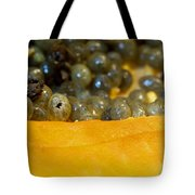 Cross Section Of A Cut Papaya With The Fruit And The Seeds Tote Bag
