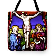 Cross Stained Glass Tote Bag