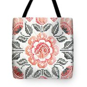 Cross Stitch Roses Tote Bag