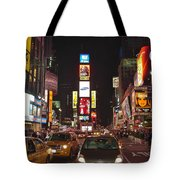 Crossing The Street At Times Square At Night Tote Bag