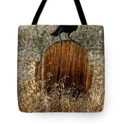 Crow On Old Wooden Grave Tote Bag
