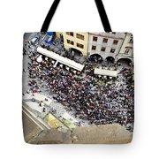Crowd Forms At Clock Tower - Prague Tote Bag