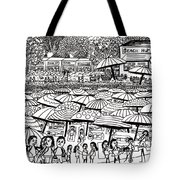 Crowded Beach Black And White Tote Bag