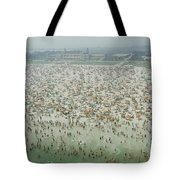 Crowds Of People At Jones Beach Tote Bag