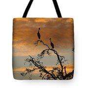 Crowned Cranes At Sunrise Tote Bag