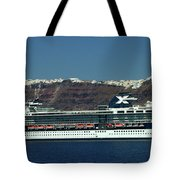 Cruiser Leaving Santorini Island Tote Bag