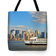 Cruising Past The Freedom Tower Tote Bag