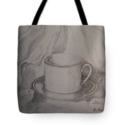Cup And Saucer On Material Tote Bag