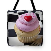 Cupcake With Heart On Checker Plate Tote Bag