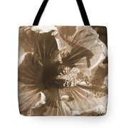 Curly Hibiscus In Sepia Tote Bag