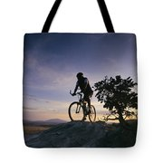 Cyclist At Sunset, Northern Arizona Tote Bag