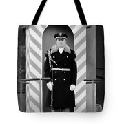 Czech Soldier On Guard At Prague Castle Tote Bag by Christine Till