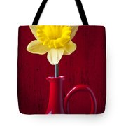 Daffodil In Red Pitcher Tote Bag