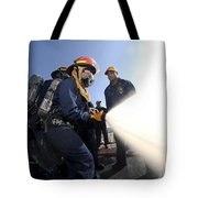 Damage Controlmen Conduct Fire Hose Tote Bag