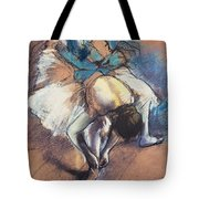 Dancer Fastening Her Pump Tote Bag by Edgar Degas