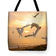 Dancing Seagulls Tote Bag