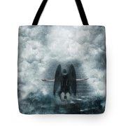 Dark Angel Kneeling On Stairway In The Clouds Tote Bag