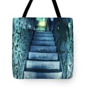 Dark Staircase With Man At Top Tote Bag