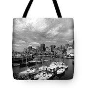 Darling Harbor- Black And White Tote Bag