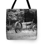 Decaying Wagon Black And White Tote Bag