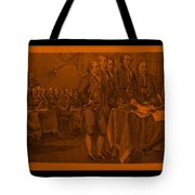 Declaration Of Independence In Orange Tote Bag