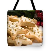 Decorated Christmas Cookies In Festive Setting Tote Bag