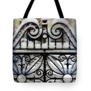 Decorative Iron Gate In Winter Tote Bag