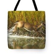 Deer Running Through The Salt Marsh Tote Bag