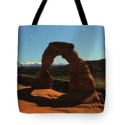 Delicate Arch Under Moonlight Tote Bag
