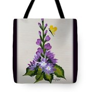 Delphenium And Butterfly Tote Bag