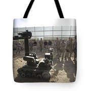 Demonstration Of A Bomb Disposal Robot Tote Bag