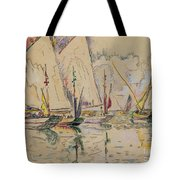 Departure Of Tuna Boats At Groix Tote Bag by Paul Signac