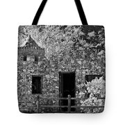 Desert Castle Black And White Tote Bag