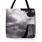 Devils Tower Wyoming Bw Tote Bag