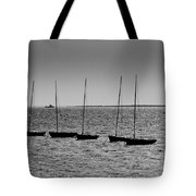 Dinghies Moored Off Of Leigh On Sea Essex Tote Bag