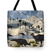 Dinosaurs Gather At A Life Saving Oasis Tote Bag